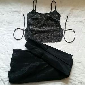 Vintage 90s Jump 3/ 4 Skirt Crop Silver Black Set